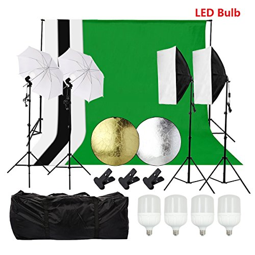 tography Lighting Kit with 6.6ft x 9.8ft Backdrops Umbrellas Softbox Continuous Lighting Kit Light Reflector with LED Bulb for Video and Portrait Lighting for Beginners ()