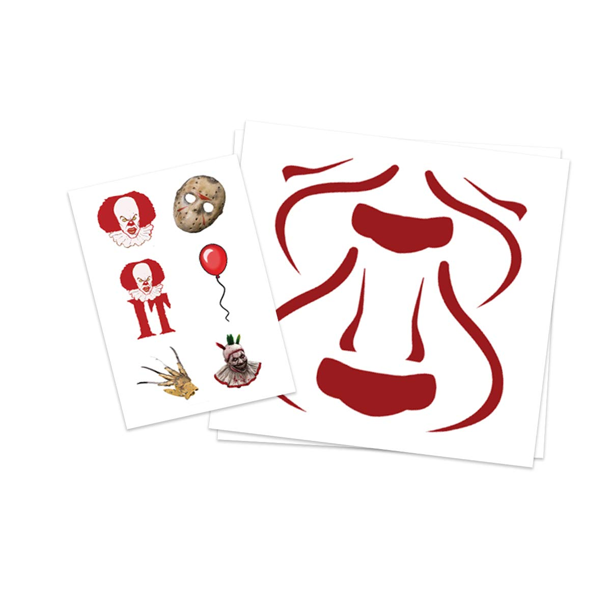 Pennywise Temporary Tattoos |(2-Pack) PLUS Bonus