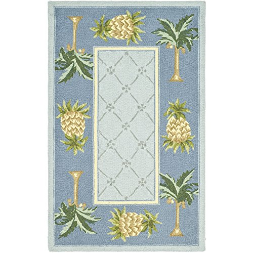 Safavieh Chelsea Collection HK362D Hand-Hooked Light Blue and Blue Premium Wool Area Rug (2'6