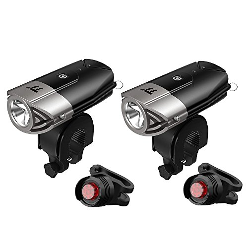 2 Set of LED Bike Light, TaoTronics Bicycle Light, 700 Lumes Powerful Bike Headlight, USB Rechargeable, IP65 Waterproof, Versatile Usage Flashlight, Bike Front Light, Free Tail Light Included