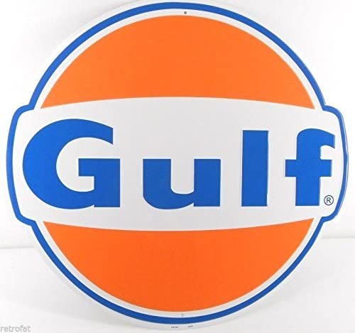 "Gulf Oil Gasoline 12/"" Embossed Round Metal Circle Sign"