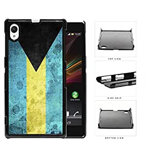 Bahamas Flag Black Triangle with Aquamarine and Yellow Horizontal Bands Grunge Hard Snap on Phone Case Cover Sony Xperia Z1