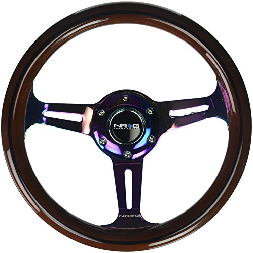NRG Innovations ST-310BRB-MC Classic Dark Wood Grain Wheel (Black Line Inlay, 310mm, 3 spoke center in Neochrome), Classic (Woodgrain Steering Wheel)