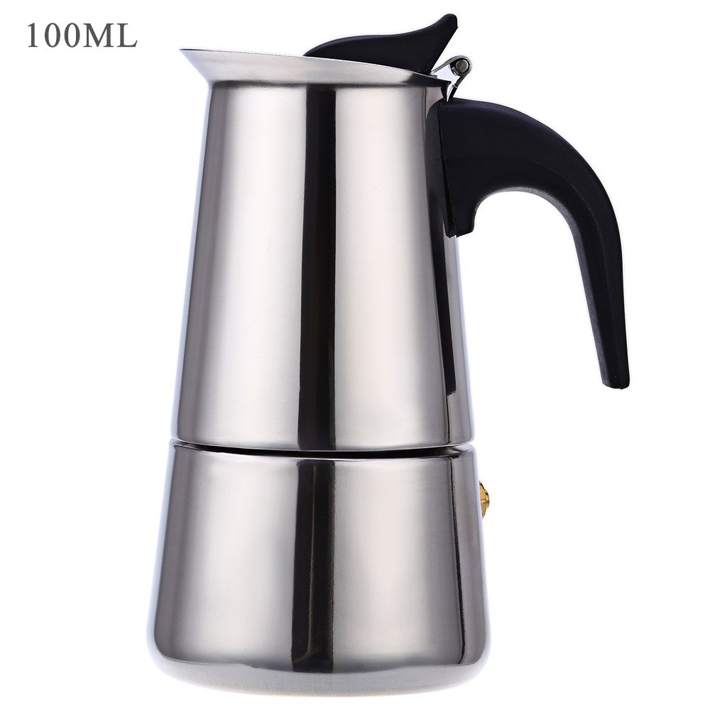 Robolife 2-Cups 100ML Stainless Steel Espresso Coffee Maker Percolator Coffee Makers Pot
