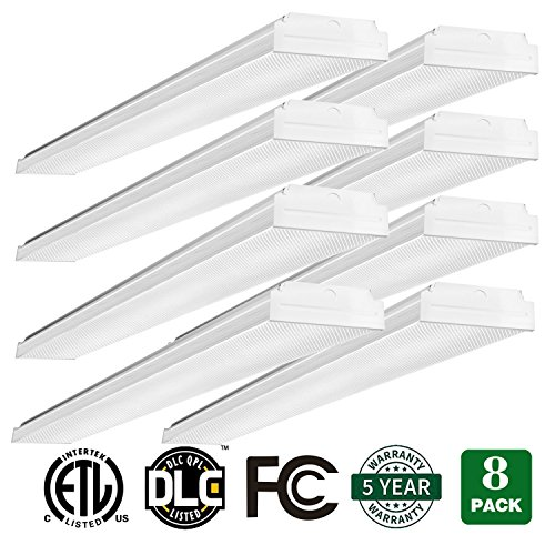 AntLux 4ft LED Garage Shop Lights LED Wraparound Light Fixture - 40W 4800LM - 4000K Neutral White - Integrated Low Profile Linear Flush Mount Ceiling Lighting - 120W Fluorescent Replacement - 8 Pack - Wrap Around Fluorescent Light
