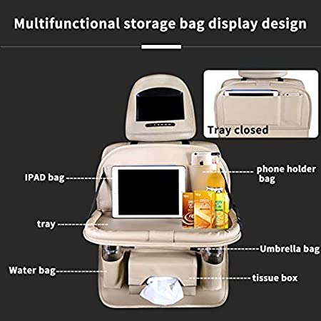 Beige HEYLOVE Car Seat Protector+Backseat Organizer with Tablet Holder and Foldable Tray Durable Quality Seat Covers,Luxury PU Leather Car Seat Back Organizer,Travel Accessories Organizer.