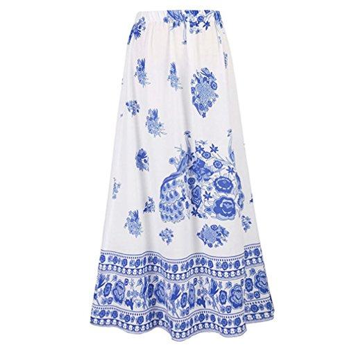 Longue Impression Rtro Mode National Maxi CIELLTE Plage Florale Jupe Vacances Jupe Bohme Chic de Bleu Jupe Jupe Style Ample de Femme Women x0zwBwI