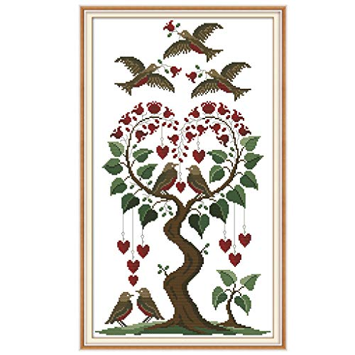 (cici store DIY Counted Cross Stitch Kits-Love Tree and Birds (31×50Cm),Adults Handmade Needlework Embroidery Set for Wall Decor)