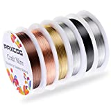 Paxcoo 6 Pack Jewelry Beading Wire for Jewelry Making Supplies and Craft (24 Gauge)
