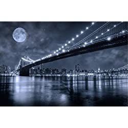 Startonight Wall Art Canvas Brooklyn Bridge, New York USA Design for Home Decor, Dual View Surprise Artwork Modern Framed Ready to Hang Wall Art 23.62 X 35.43 Inch 100% Original Art Painting!
