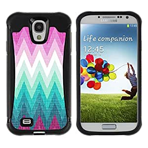 "Pulsar iFace Series Tpu silicona Carcasa Funda Case para Samsung Galaxy S4 IV I9500 , Zig Zag Pattern Purple Hills"""
