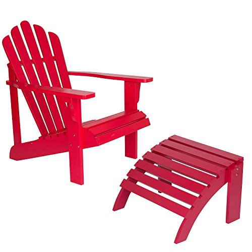 Red Cedar Chaise Lounge Chair - Shine Company Inc., Westport Adirondack Chair with Ottoman, Standard, Tomato Red