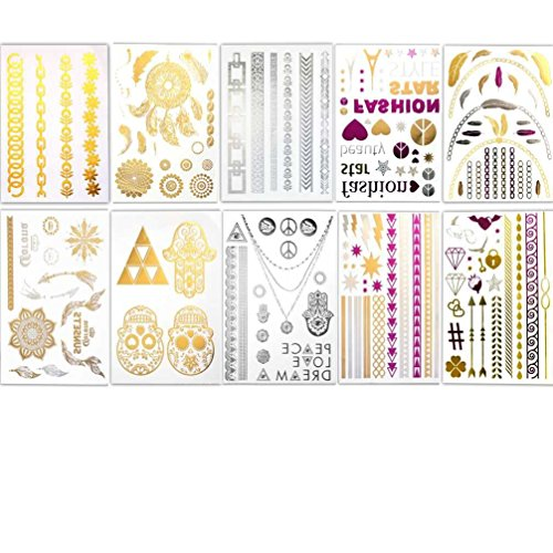 [Fanme BohoTats Flash Metallic Temporary Tattoos - Set of 10 Sheets,150+ Intricate Designs Removable Waterproof Bling Bling stickers, High Gloss Shimmer Effect (silver pink gold] (Super Easy Last Minute Halloween Costumes)