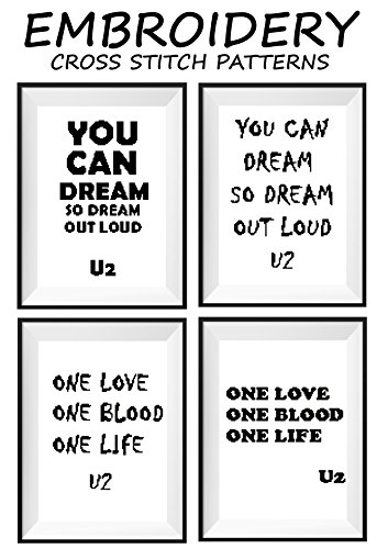 - U2 Talking art mini pattern cross stitch counted Famous motivational quotes Modern wall décor One love One blood One life You can dream so dream out loud Rock band Music notes cross stitch pattern