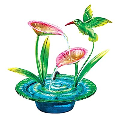 Colorful Hummingbirds Tabletop Fountain