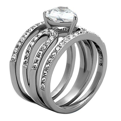 Stainless Steel Heart Shape Cubic Zirconia Women's Wedding - Heart Shape Wedding Ring Set