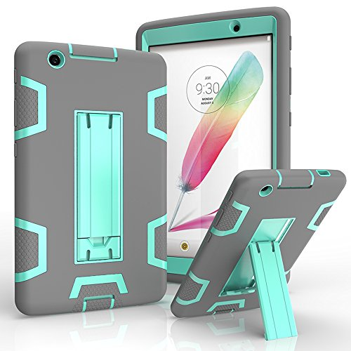 LG G Pad X 8.0 Case, LG G Pad III 8.0 Cover, Kuteck Defender Armor Hybrid Case Full Body Cover with Stand for LG G Pad 3 8.0 / G Pad X 8.0 + Stylus Pen (Gray/Teal)