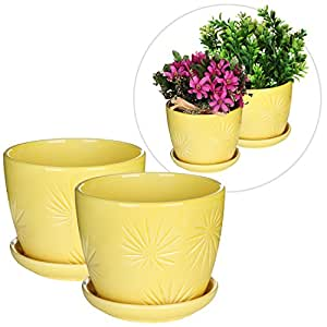 Set of 2 Yellow Sunburst Design Ceramic Flower Planter Pots / Decorative Plant Containers with Saucers