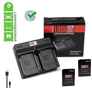 LOOkit Dual Chargeur + 2x LOOKit Premium Batterie EN-EL12 /1050mAh – pour Nikon A900, Nikon S9900, Nikon AW130, Nikon AW120, P340, Nikon S9700 , Nikon S9600, Nikon P330, Nikon AW110, S31, S9500, S9400, S9300 S31 S800c S9100 S8000 S8100 S8200 P300 P310 P330 S6150 S6200 S1200pj