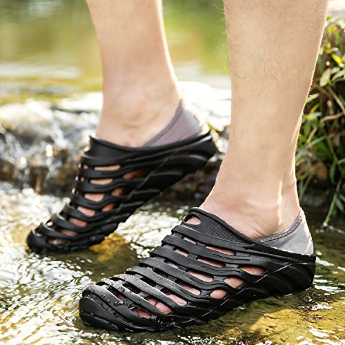 tqgold Mens Clogs Summer Slip-On Slippers Outdoor Sports Sandals Beach Aqua Shoes (Black,Size 9.5)