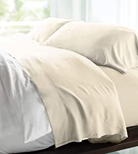 Cariloha Resort Bamboo Sheets 4 Piece Bed Sheet Set - Luxurious Sateen Weave - 100% Viscose from Bamboo Bedding (Queen, Coconut Milk)