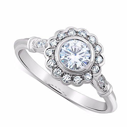 14K White Gold Diamonds Forever One Moissanite Flower Halo Art Deco Style Engagement Ring