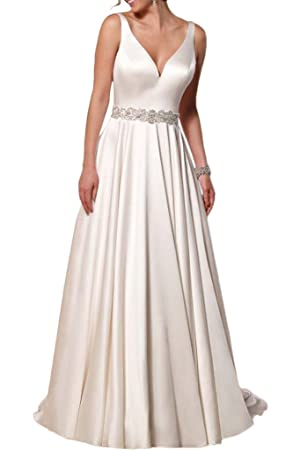 Vienna Bride Sexy V-Neck Backless Beaded Satin Wedding Dress Gown For Bride-22W-White