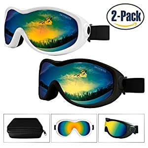 Snow Ski Goggles Pack of 2,Snowboard Skiing Goggle with Nano-Microfiber Anti-fog Lens Cloth,Anti-glare Lenses UV Protection,Wind Resistance,for Kids,Youth,Men,Women in Eyewear Case (Black/White)