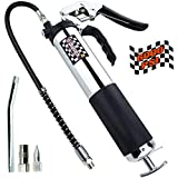 Heavy Duty Professional Pistol Grip Grease Gun 6000 PSI - 18 inch Flex Hose