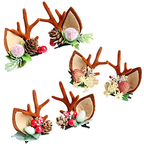 Wootkey 3 Pairs Reindeer Hair Clips Plastic Artificial Flowers California Berries Rich Red Artificial Berry Stems Holly Christmas Berries for Festival Holiday and Home Decor