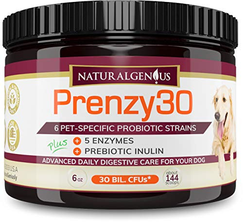 Natural Genius Probiotics & Enzymes | Fights Dogs Diarrhea, Constipation, Gas, Yeast Infection & Coprophagia | Non-GMO Natural Organic Stool Eating Deterrent & Overall Health | Made in USA 5-mo Supply