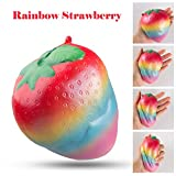 intimate packages - BeYumi Colorful Slow Rising Toy, Rainbow Strawberry Squishy Cream Scented Bread Decompression Squeeze Toys for Collection Gift, decorative props Large or Stress Relief, 1 Pack