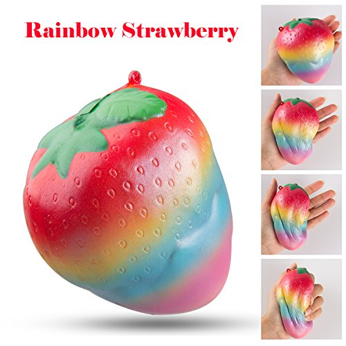 BeYumi Colorful Slow Rising Toy, Rainbow Strawberry Squishy Cream Scented Bread Decompression Squeeze Toys for Collection Gift, decorative props Large or Stress Relief, 1 (Scented Strawberry)