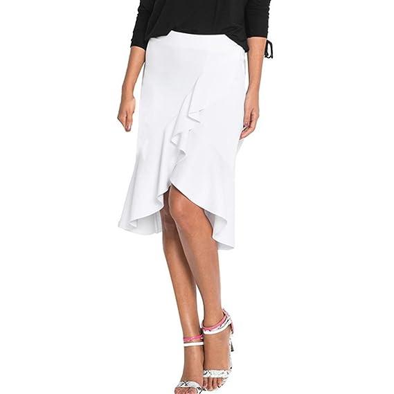 Faldas AsiméTrica De Color SóLido Con Volantes LHWY, Faldas Elegante De Verano Oficina Hasta La