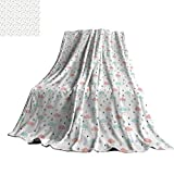 """Pastel Living Room/Bedroom Warm Blanket Scandinavian Design Clouds with Raindrops and Triangles Weather in Winter 60"""" Wx62 L Baby Blue Blush Grey"""