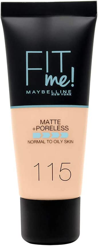 Maybelline New York - Fit Me, Base de Maquillaje Mate Afina Poros, Tono 115 Ivory - 30 ml