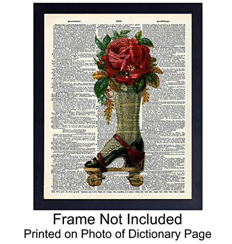 Wall Art Print on Dictionary Photo - Ready to Frame (8X10) Vintage Photo - Great Gift for Steampunk - Chic Home Decor - Rose and Roller Skate ()