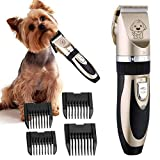 Microtimes Dog Grooming Clippers,Professional Low Noise Rechargeable Cordless Cat and Dog Clippers Pet Clippers Grooming Kit with 4 Comb Guides and Cleaning Brush for Pet Dogs and Cats