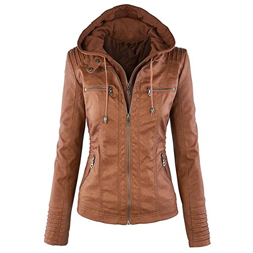 Newbestyle Women Hooded Faux Leather Jacket Hat Detachable Zipper Jacket Women Motorcyle Jacket