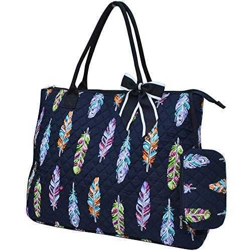 Ngil Quilted Cotton Extra Large Overnight Travel School Tote Bag (Feather Navy Blue)