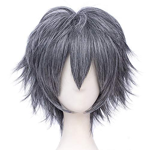 Max Beauty Unisex Anime Short Cosplay Short Wigs With Bangs Heat Resistant Hair for Party and Halloween for Gift + Free Cap (Gray F30)
