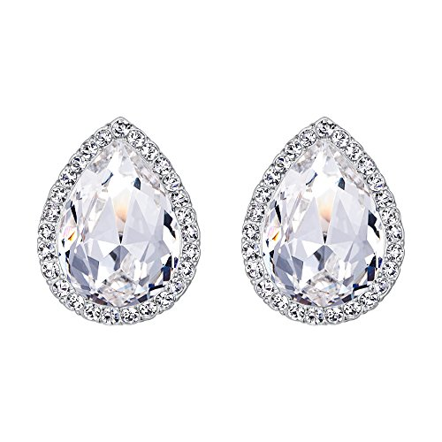 EVER FAITH Women's Austrian Crystal Wedding Teardrop Stud Earrings Clear Silver-Tone