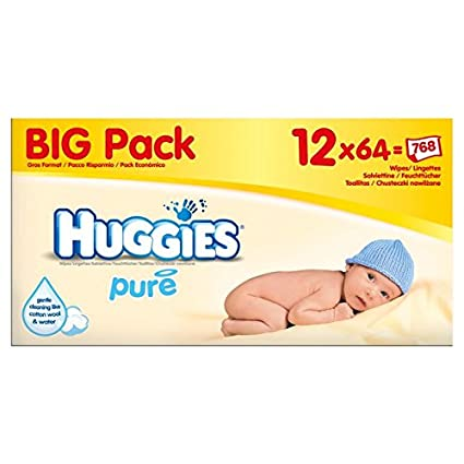 Huggies Pure Wipes Big Pack 12 x 64 por paquete