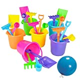Colorful Mini Beach Play Sets- 12 Buckets, Shovels, Rakes, and Scoops