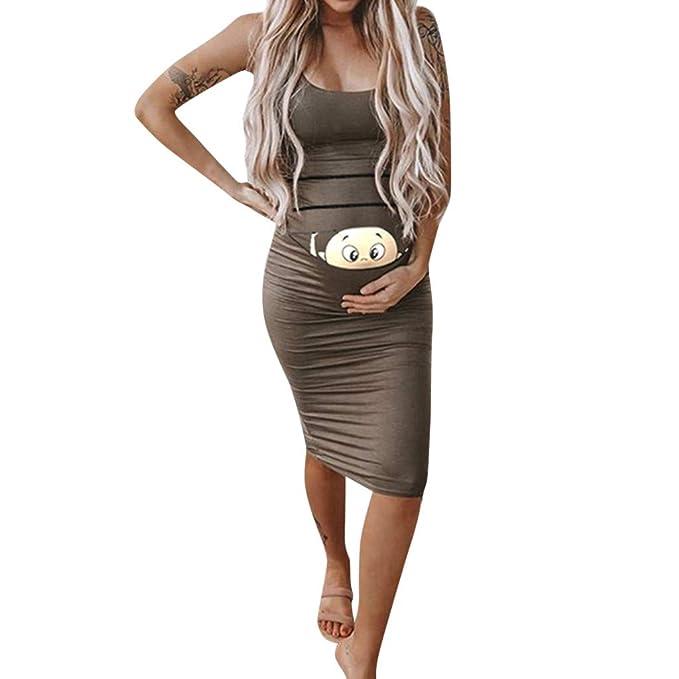 c0cb3e3537fe Topgrowth Vestiti Gravidanza Divertenti Abiti Premaman Senza Maniche  Infermieristica maternità Canotta Vestiti da Donna Bambino Stampato Vestito  Estate  ...