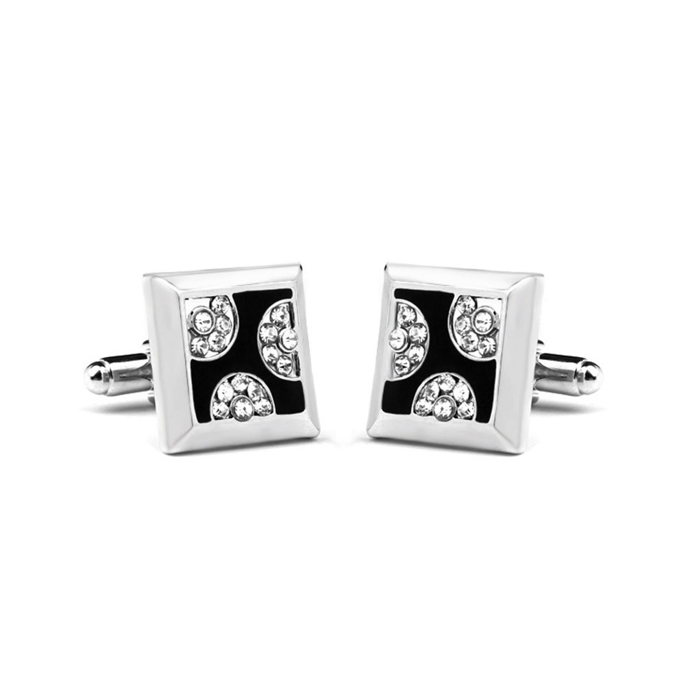 liyhh Fashion Square Alloy Rhinestone Men's Cufflinks Cuff Links Shirt Decor Gift - Silver by liyhh (Image #1)