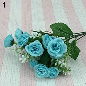 WskLinft 1 Bouquet 5 Branches 15 Heads Artificial Rose Wedding Home Decor Faux Silk Flower - Blue 21