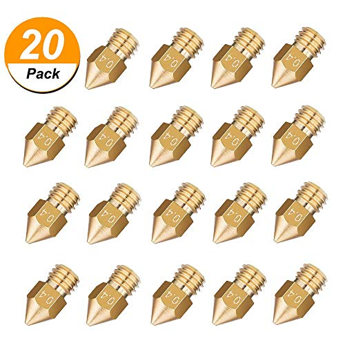 20PCS MK8 Nozzle 0.4mm Genenic 3D Printer Extruder Nozzle Parts MK8 Extruder Head for Creality Cr10 by Genenic