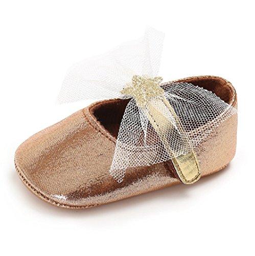 Suela Princesa 3 Zapatos Mes Bebés 6 6 12 De 18 Rosa 12 Para auxma Bebé Oro Los Bowknot WYgAq0YR