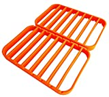 "STAN BOUTIQUE Silicone Roasting Rack – Baking Racks for Oven Use | Cooking Racks for Sheet Pan – Turkey Roasting Rack Nonstick, Orange – 2 Pack (11"" X 14"") For Sale"